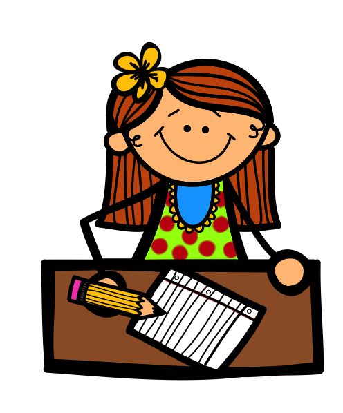 Boy and girl writing clipart free images