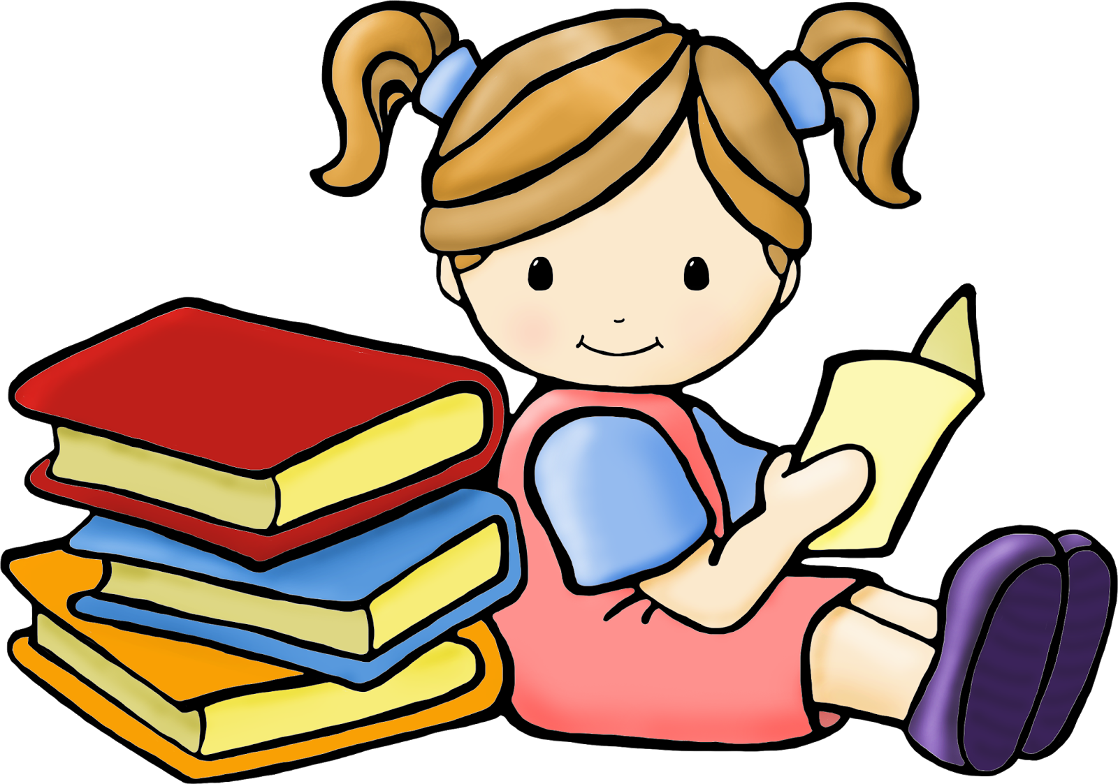 Kids reading and writing clipart clipartfest