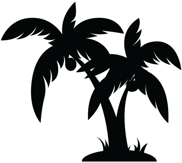 Palm tree clipart black and white free 2
