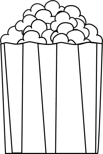 Popcorn black and white clipart 3