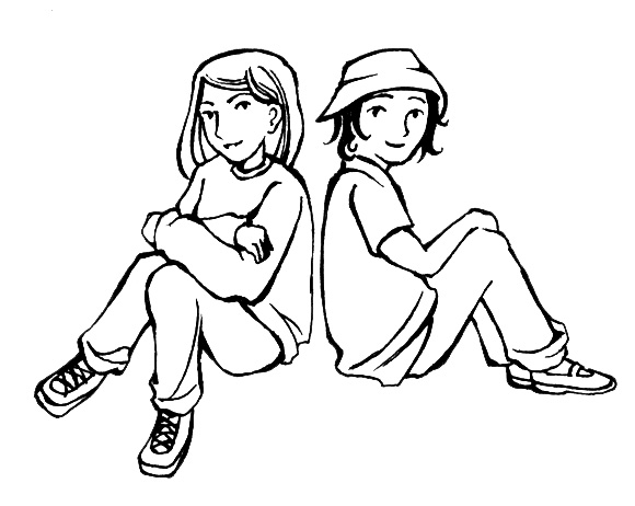 Black and white friends clipart