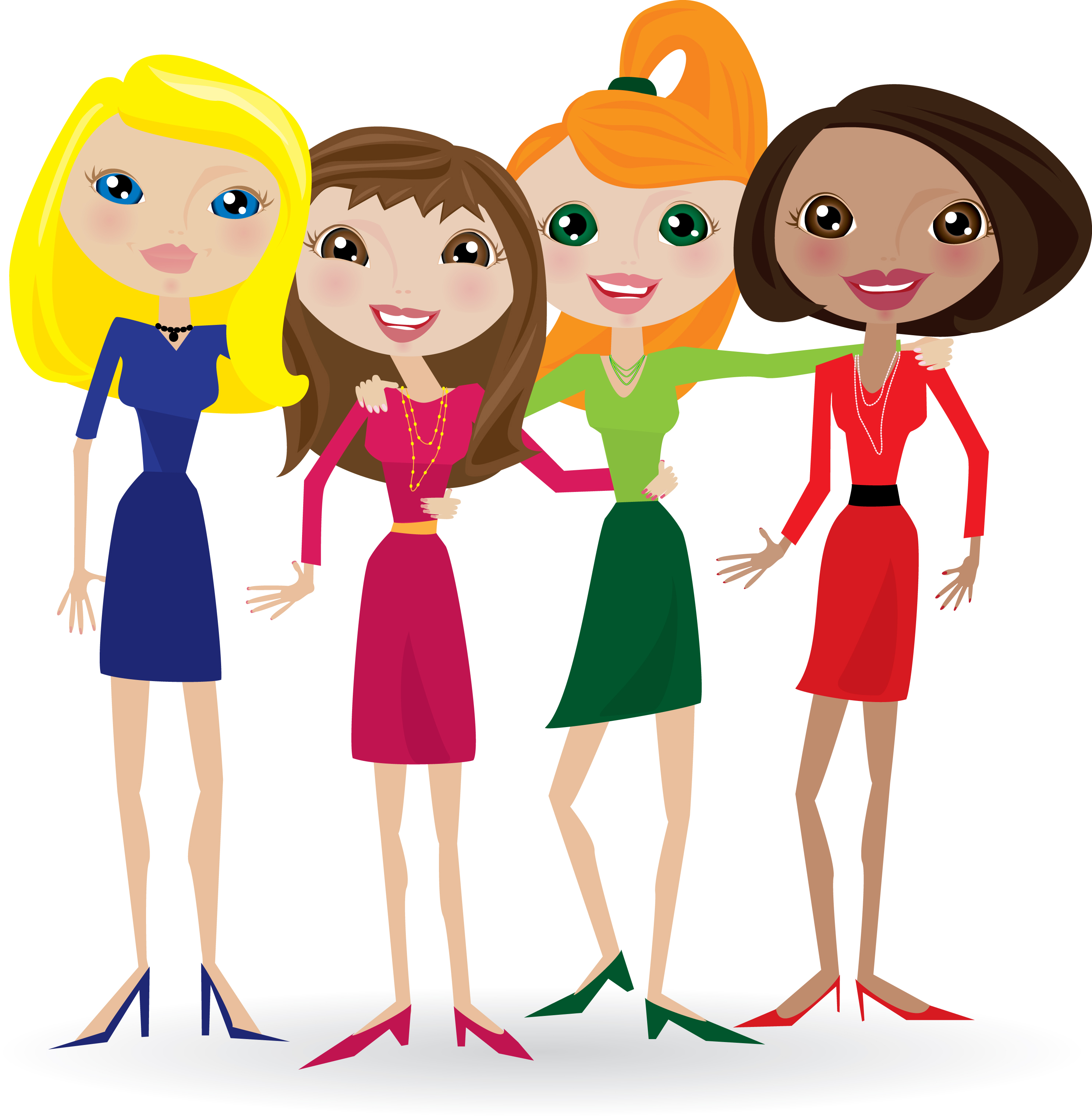 Female group of friends clipart