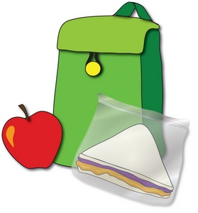 Apple and backpack clipart