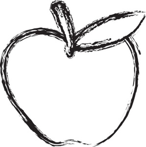 Apple black and white clipart 2