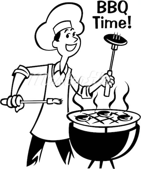 Bbq grill clipart black and white free