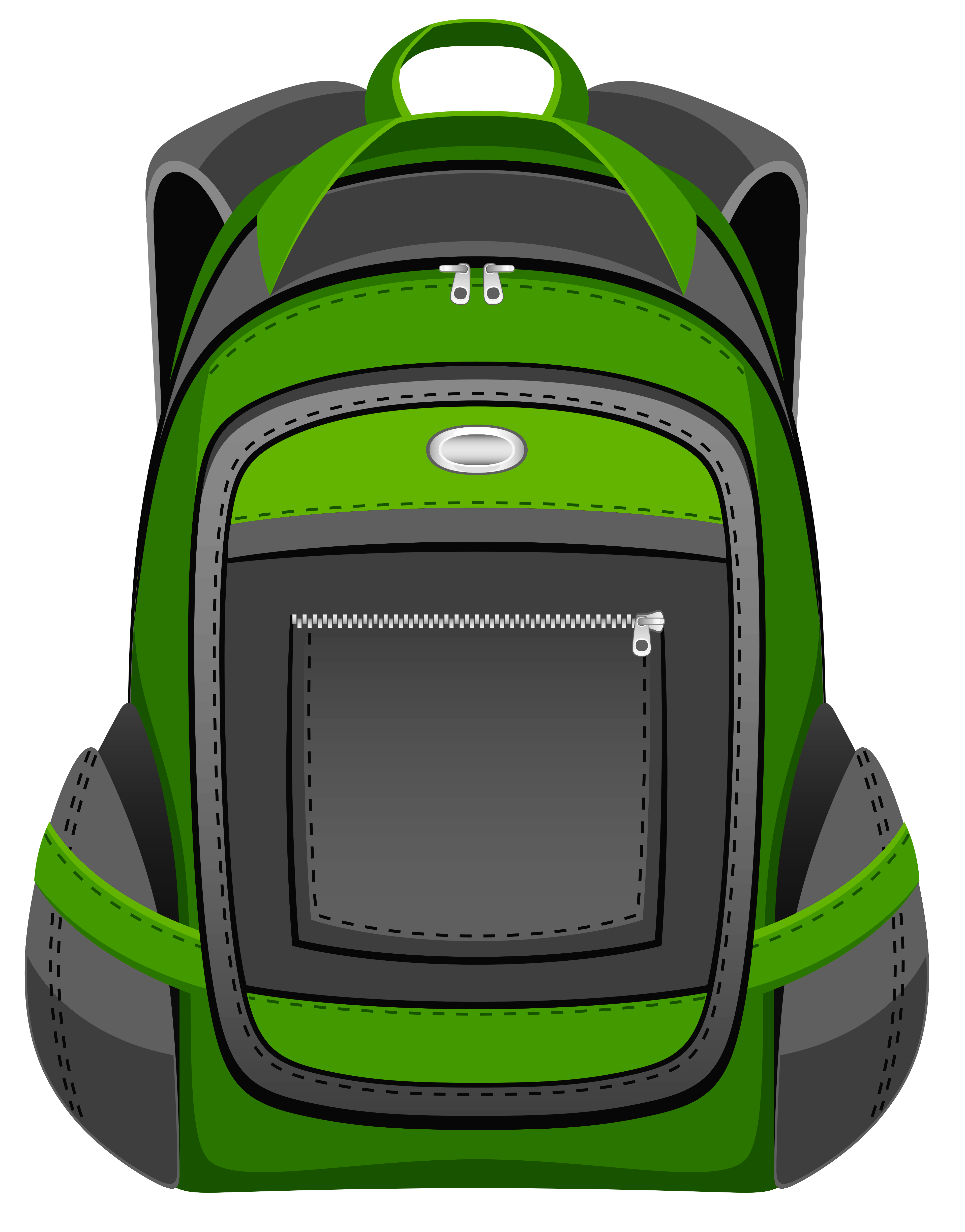 Black and green backpack vector clipart