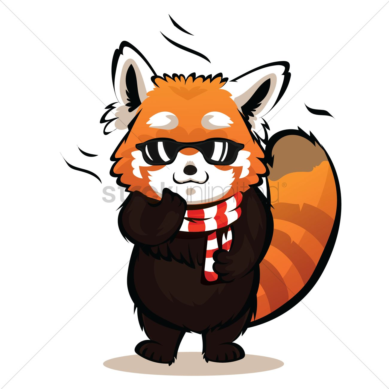 Cartoon red panda being cool vector image 3 stockunlimited clip art