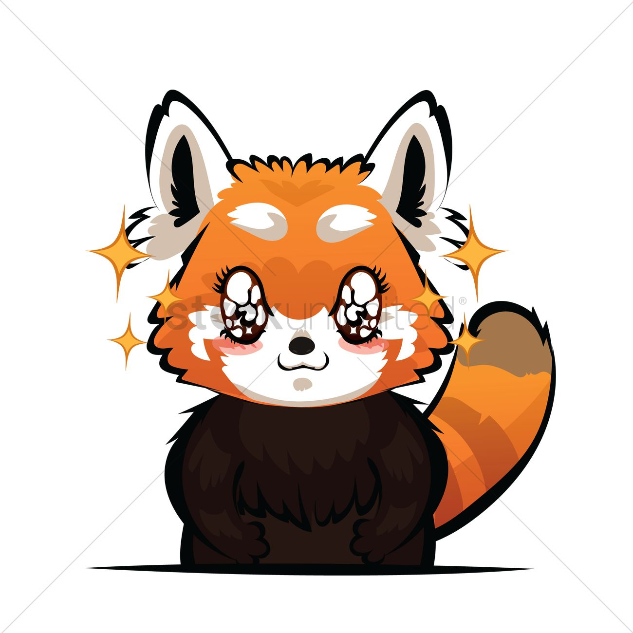 Cartoon red panda with sparkling eyes vector image 9 clip art