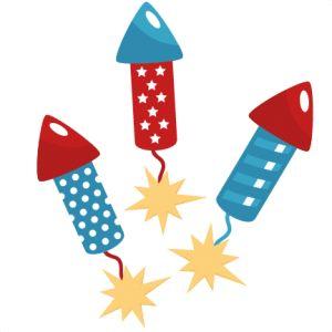 Cute fireworks clipart