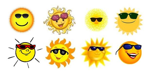 Cute sun with sunglasses clipart