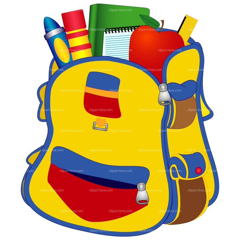Free clipart school backpacks with items clipartfox