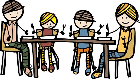 Friends eating lunch clipart