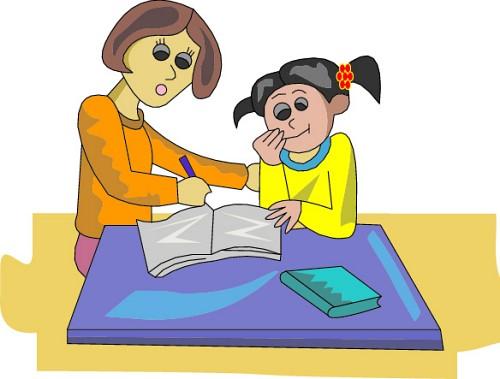Girl do homework clipart