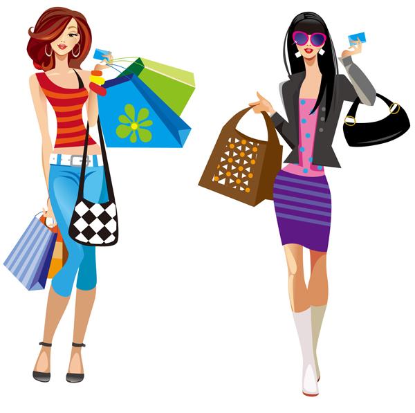 Girlfriends girlfriend shopping clipart