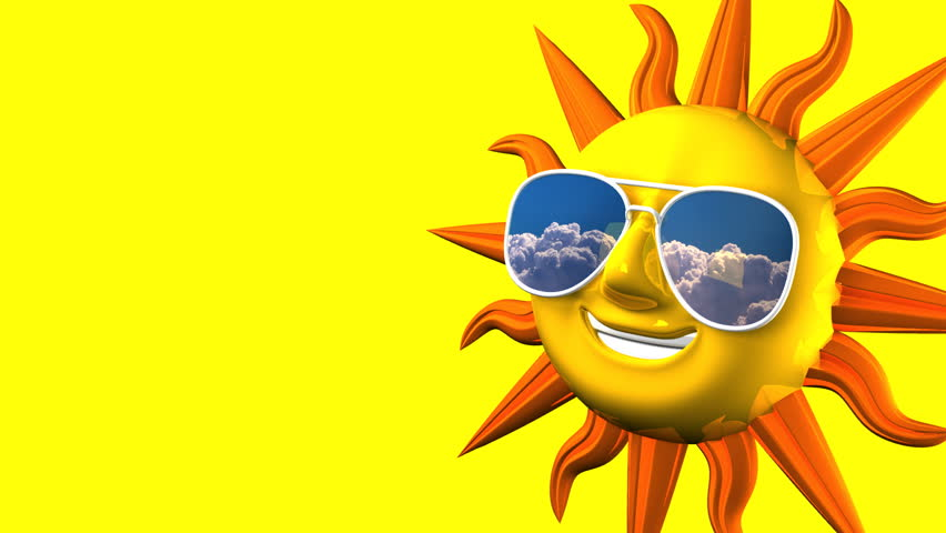 Golden smiling sun with sunglasses on blue text space 3d render 2