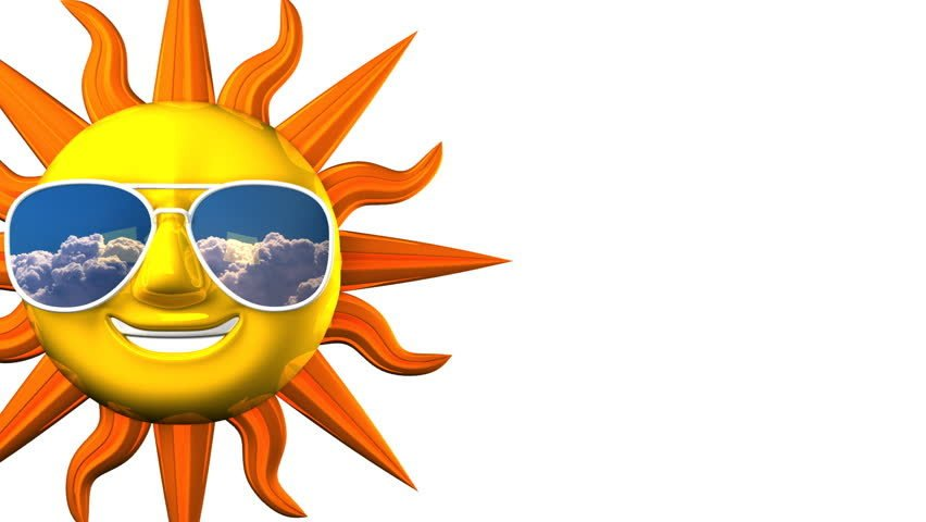 Golden smiling sun with sunglasses on blue text space 3d render 3