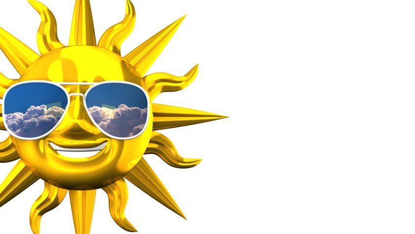 Golden smiling sun with sunglasses on blue text space 3d render