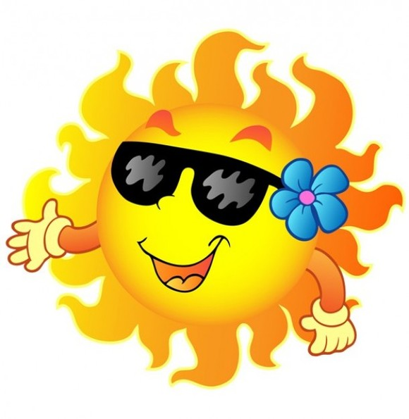Happy sun with sunglasses and flower cartoon illustration clipart