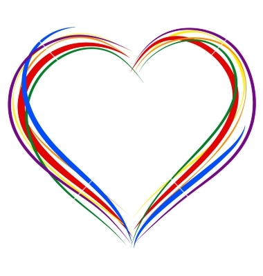 Heart outline lgbt heart symbol sign of outline rainbow vector by orensila