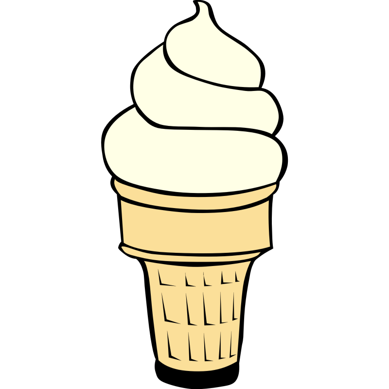 Melting ice cream cone clipart black and white