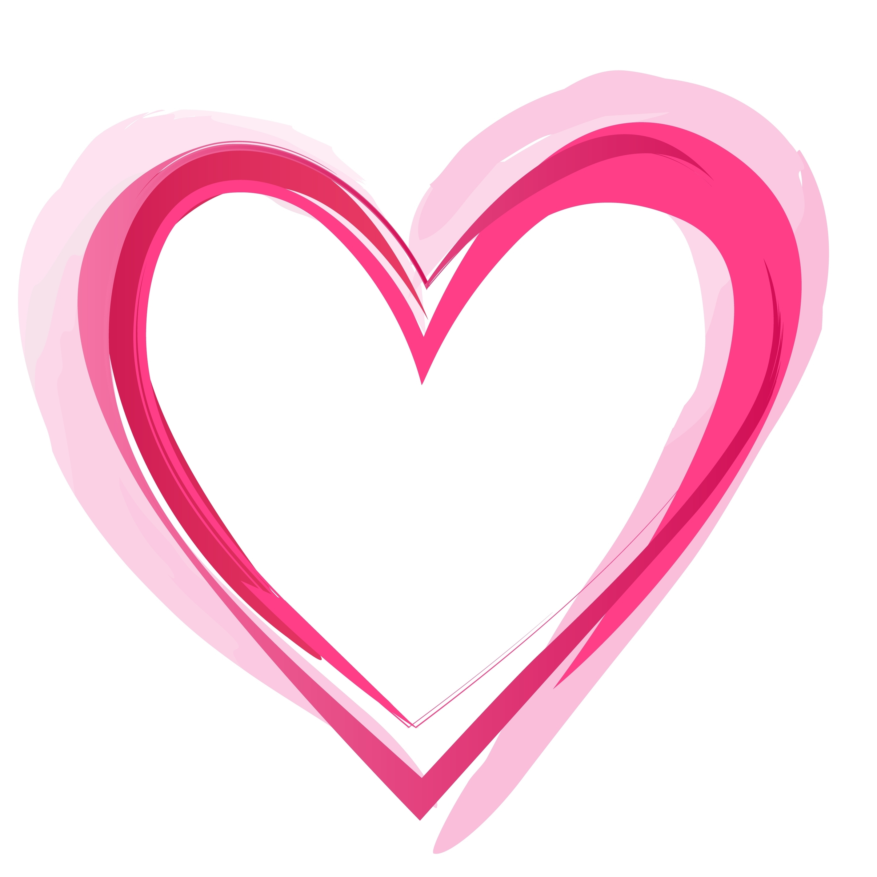 Pink child heart outline clipart