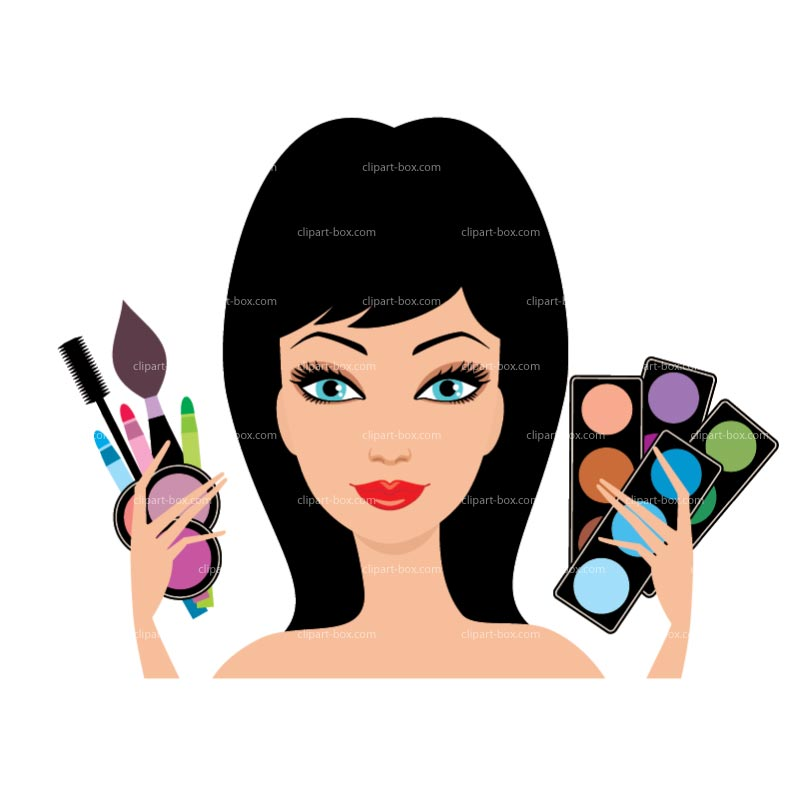 Putting on makeup clipart 2
