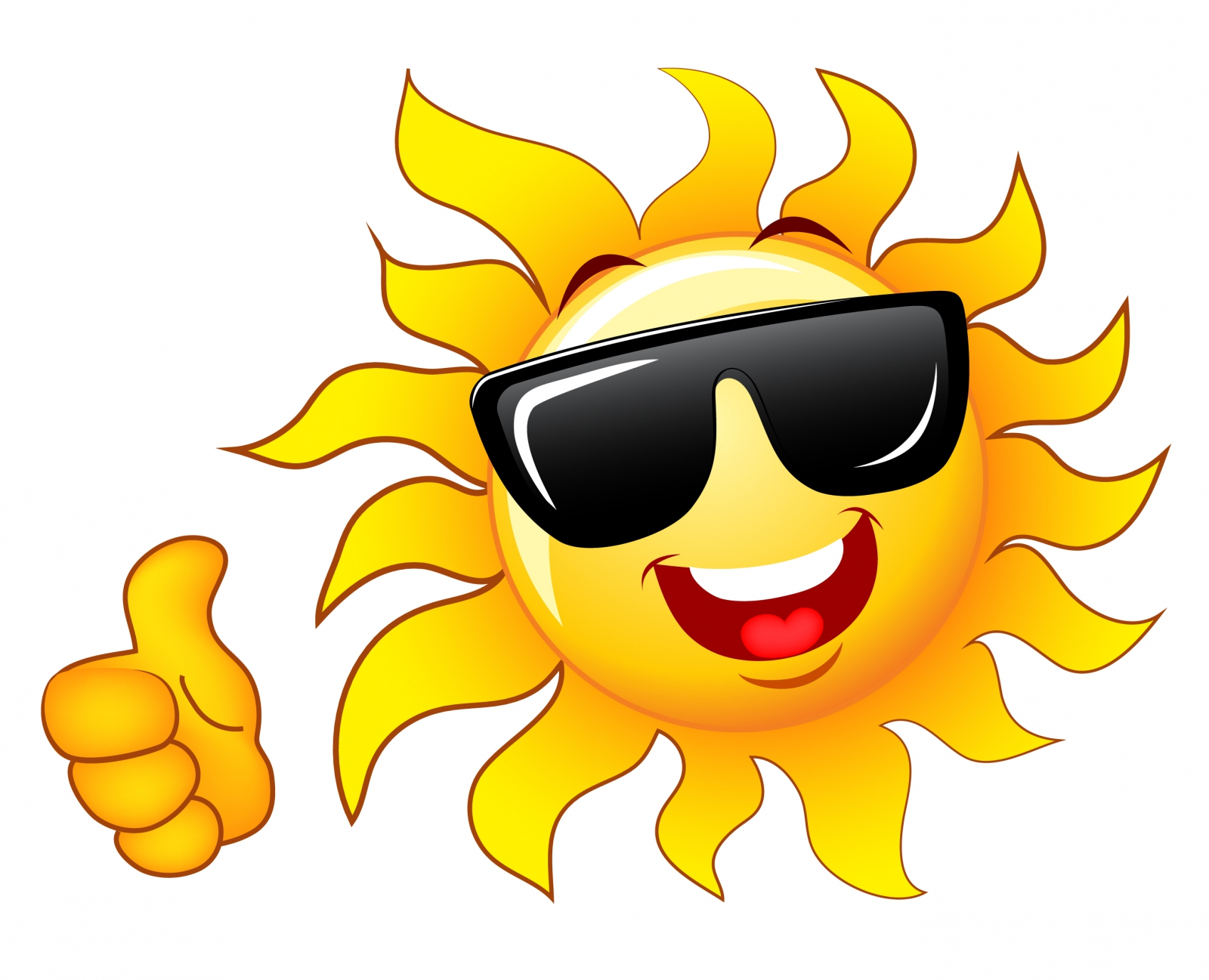 Smiling sun with sunglasses clipart