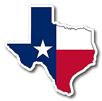 State of texas outline reflective decal automotive