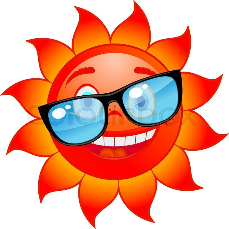 Sun with sunglasses happy red and hot sun in sunglasses cartoon style vector