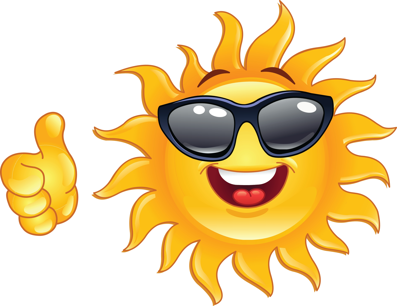 Sun with sunglasses happy sun clipart