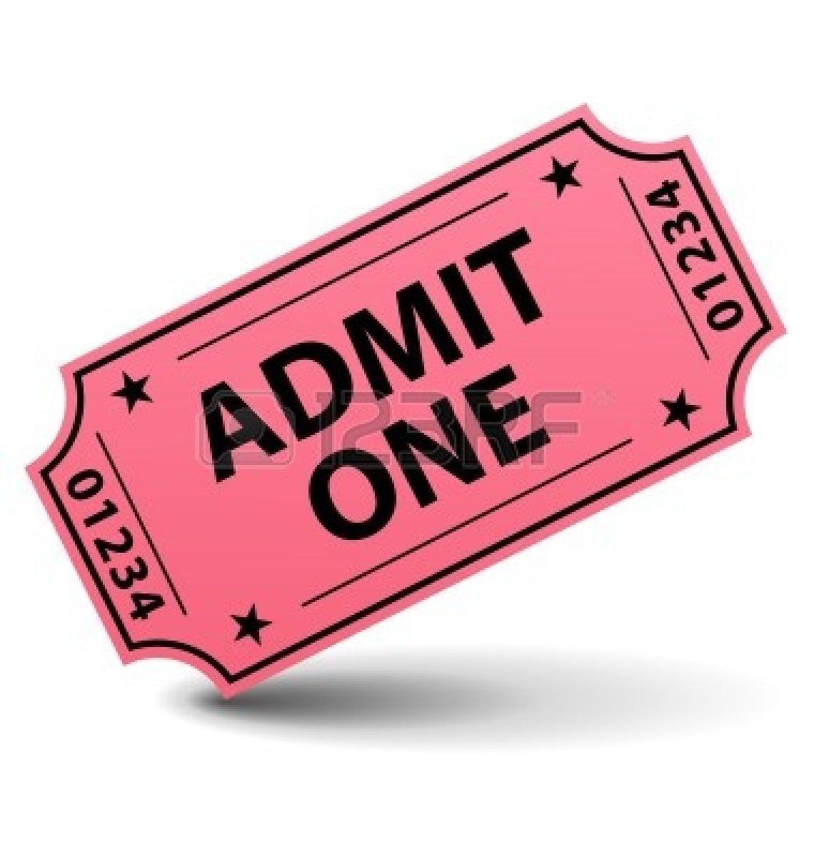 Admit one ticket clipart