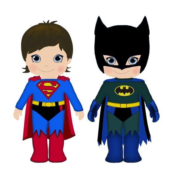 Batman and superman clipart