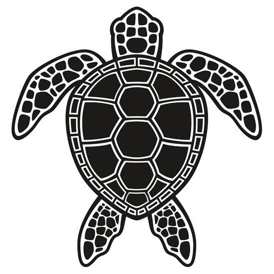 Black and white sea turtle clipart