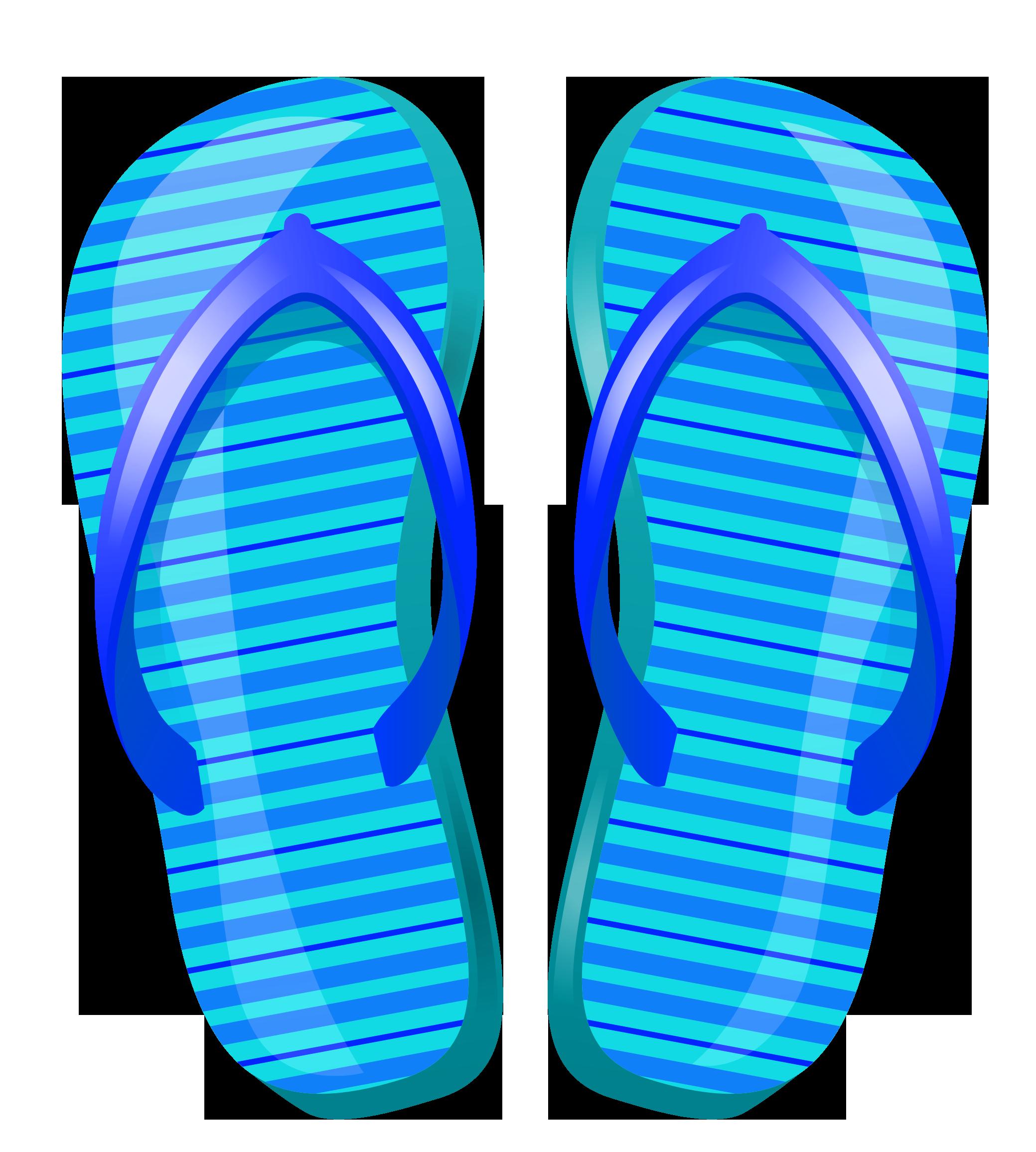 Blue beach flip flops vector clipart