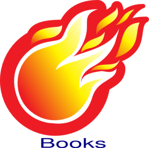 Book on fire clipart