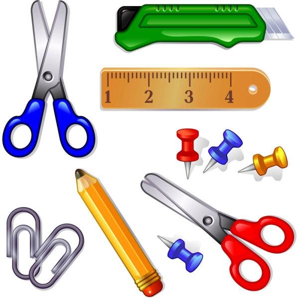 Cartoon school supplies clipart 2