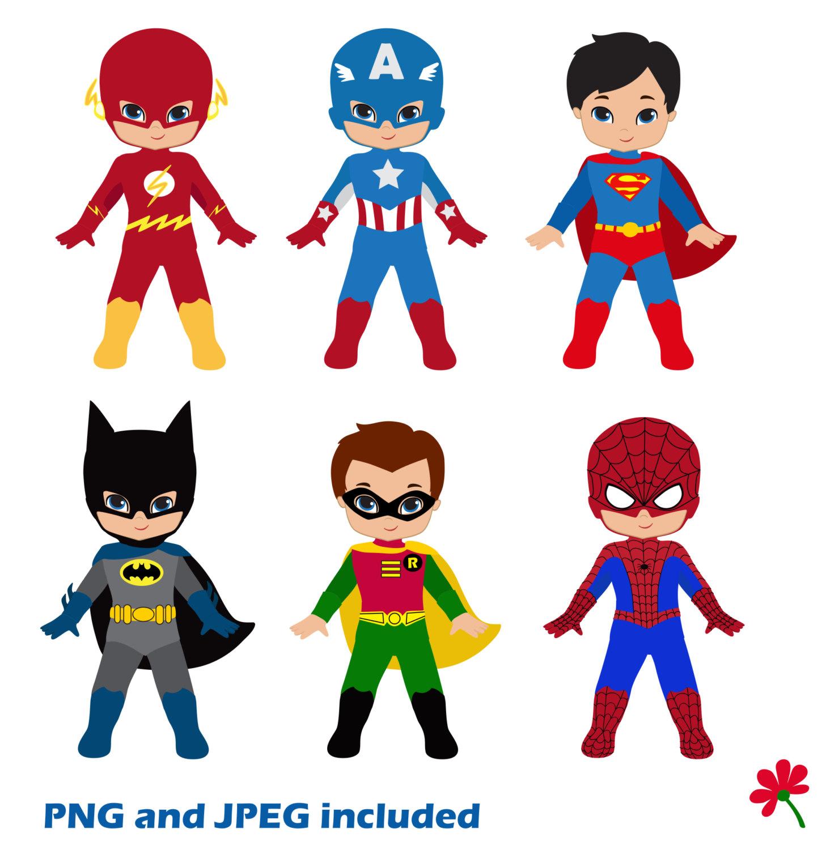 Cute superman superhero clipart