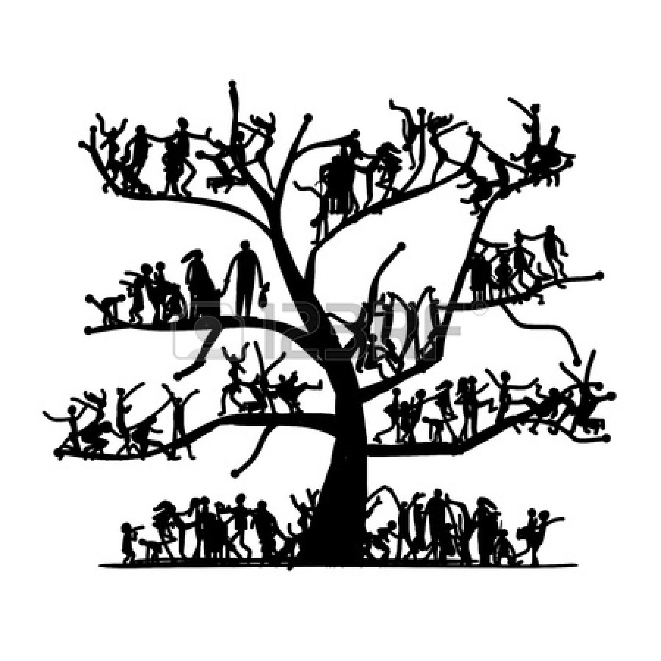 Family tree clipart black and white free