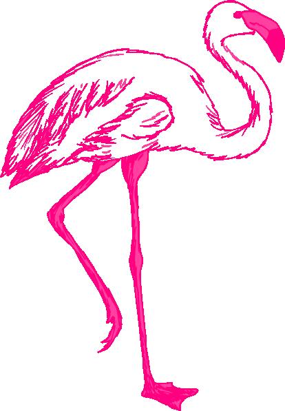 Flamingo outline clipart