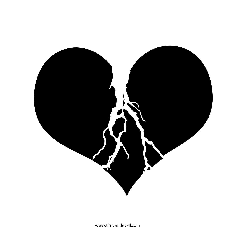 Heart  black and white black and white broken heart clipart
