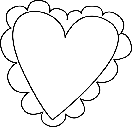 Heart  black and white black and white valentine clipart