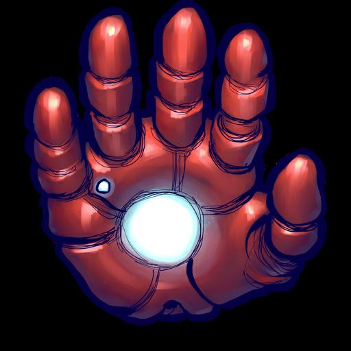 Iron man hand icon clipart image iconbug brady
