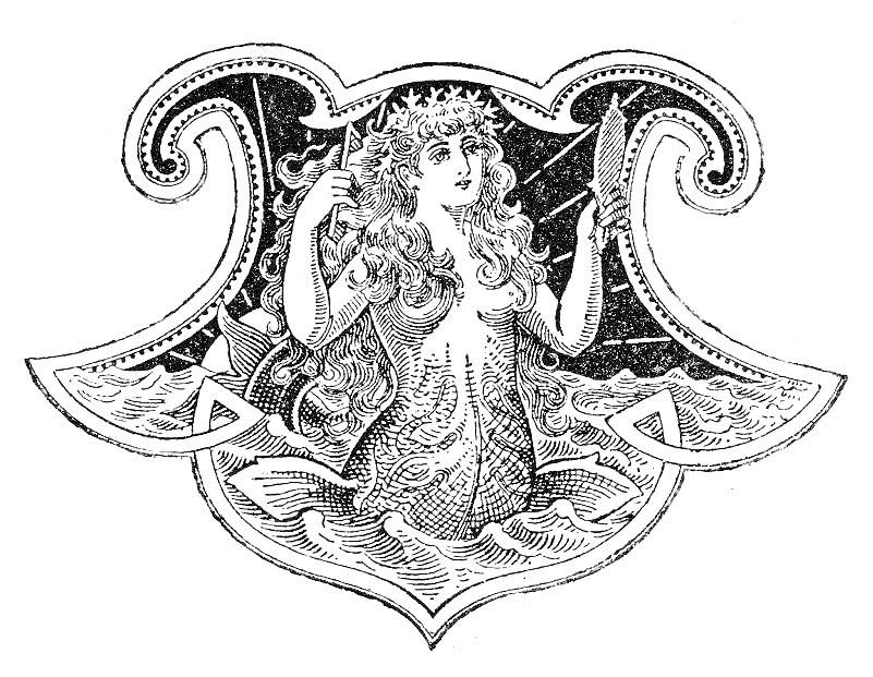 Mermaid  black and white free antique clip art beautiful mermaid the graphics fairy