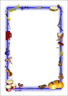 Music border musical instruments themed a4 page borders sb6 sparkle
