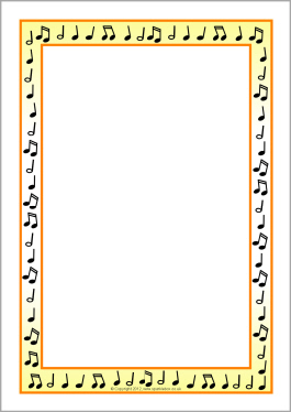 Music border musical notes a4 page borders sb2 sparkle