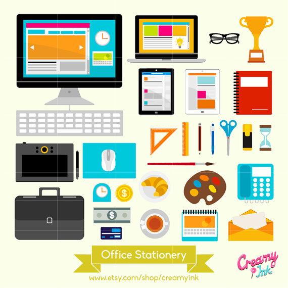 Office school supplies clipart 3