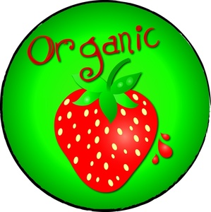 Organic strawberry clipart image fresh strawberry with the word