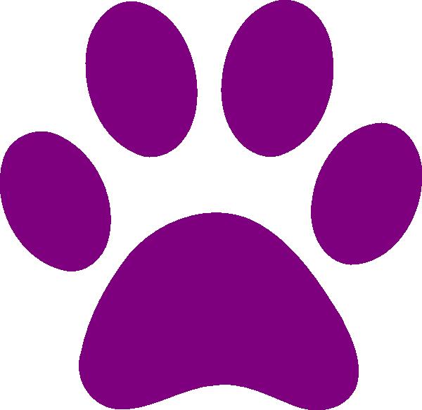 Paw print purple paw clipart