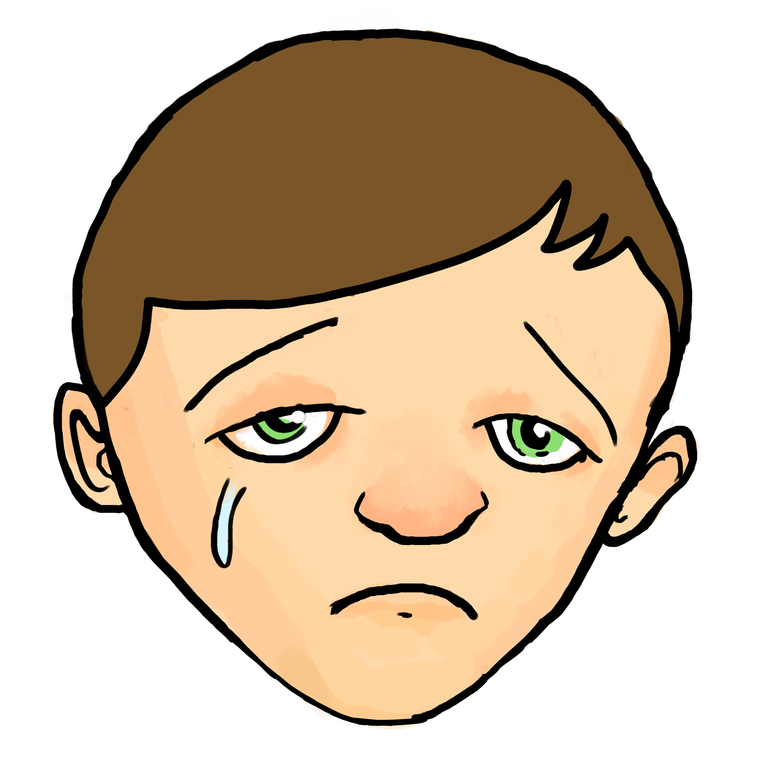 Sad face crying clipart 2