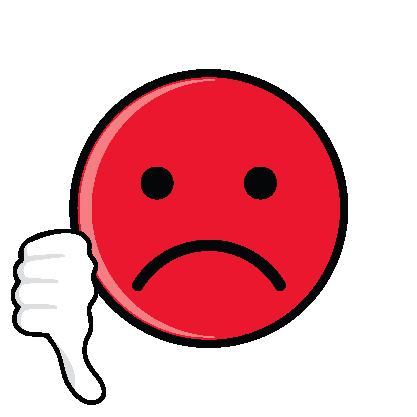 Sad face thumbs down clipart